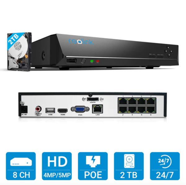 Reolink videovalvontajärjestelmä 24/7 tallentamiseen Reolink NVR surveillance system